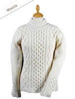 Women's Wool Cashmere Aran Mock Turtleneck Sweater - Natural White