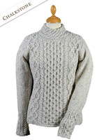 Women's Wool Cashmere Aran Mock Turtleneck Sweater - Chalkstone