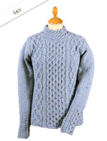Women's Wool Cashmere Aran Mock Turtleneck Sweater - Sky Blue