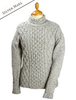 Women's Wool Cashmere Aran Mock Turtleneck Sweater - Silver Marl