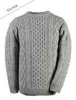 Wool Cashmere Aran Sweater - Silver