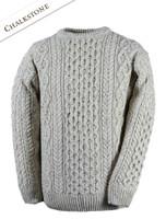 Wool Cashmere Aran Sweater - Chalkstone