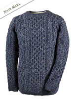 Wool Cashmere Aran Sweater - Navy Marl