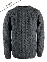 Wool Cashmere Aran Sweater - Middle Grey