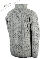 Back Detail of Wool Cashmere Aran Troyer Sweater