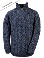 Wool Cashmere Aran Troyer Sweater - Navy Marl