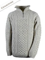 Wool Cashmere Aran Troyer Sweater - Chalkstone