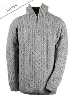 Wool Cashmere Aran Troyer Sweater - Silver
