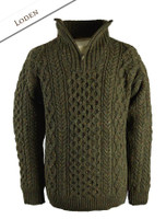 Wool Cashmere Aran Troyer Sweater - Loden