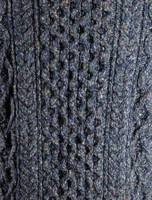 Pattern Detail from Wool Cashmere Aran Troyer Sweater