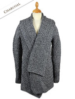 Waterfall Cable Cardigan - Charcoal