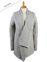 Waterfall Cable Cardigan - Silver