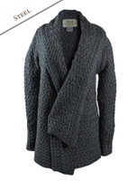 Waterfall Cable Cardigan - Steel