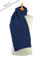 Men's Wool Cashmere Honeycomb Scarf - Denim