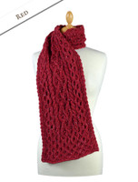 Men's Wool Cashmere Honeycomb Scarf - Red