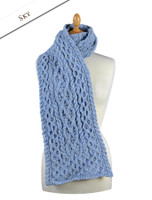 Men's Wool Cashmere Honeycomb Scarf - Sky