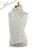 Men's Wool Cashmere Honeycomb Scarf - White