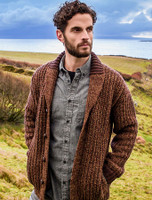 Ribbed Two-Tone Shawl Collar Cardigan