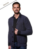 Ribbed Two-Tone Shawl Collar Cardigan - Denim