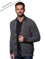 Ribbed Two-Tone Shawl Collar Cardigan - Graphite
