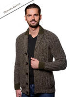 Ribbed Two-Tone Shawl Collar Cardigan - Hunter Green