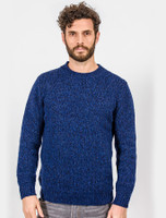 Crew Neck Sweater with Ribbed Details - Electric Blue