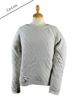 Cable and Float Stitch Boat Neck Sweater - Cream