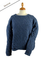 Cable and Float Stitch Boat Neck Sweater - Denim
