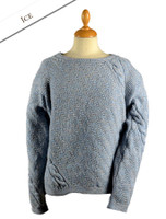 Cable and Float Stitch Boat Neck Sweater - Ice