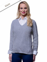 Wool Alpaca V-Neck Sweater - Grey