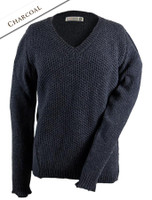 Wool Alpaca V-Neck Sweater - Charcoal