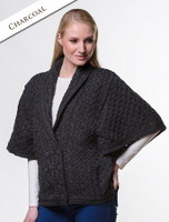 Shawl Neck Aran Batwing Jacket - Charcoal