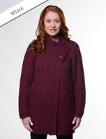 Aran Cable Crossover Neck Coat - Wine