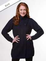 Aran Cable Crossover Neck Coat - Navy