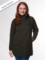 Aran Cable Crossover Neck Coat - Army