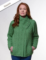 Aran Cable Crossover Neck Sweater - Green