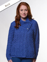 Aran Cable Crossover Neck Sweater - Blue