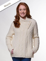 Aran Cable Crossover Neck Sweater - Natural White