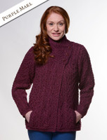 Aran Cable Crossover Neck Sweater - Wine
