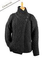 Aran Cable Crossover Neck Sweater - Charcoal