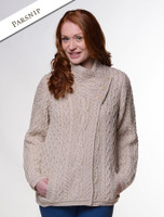 Aran Cable Crossover Neck Sweater - Parsnip