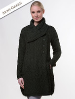 Large Collar Aran Coat - Army Green