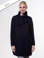 Large Collar Aran Coat - Navy