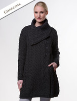 Large Collar Aran Coat - Charcoal