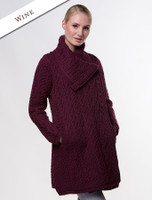 Large Collar Aran Coat - Wine