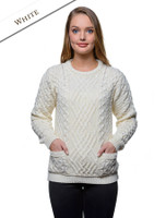 Cable Crew Neck Sweater with Pockets - White
