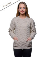 Cable Crew Neck Sweater with Pockets - Parsnip