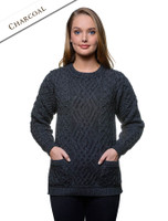 Cable Crew Neck Sweater with Pockets - Charcoal