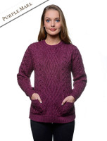 Cable Crew Neck Sweater with Pockets - Purple Marl