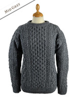 Women's Oversized Wool Cashmere Aran Sweater - Middle Grey